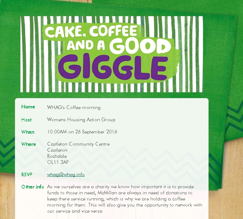 Coffee Morning in Aid of Macmillan Cancer Research – 26th September 2016