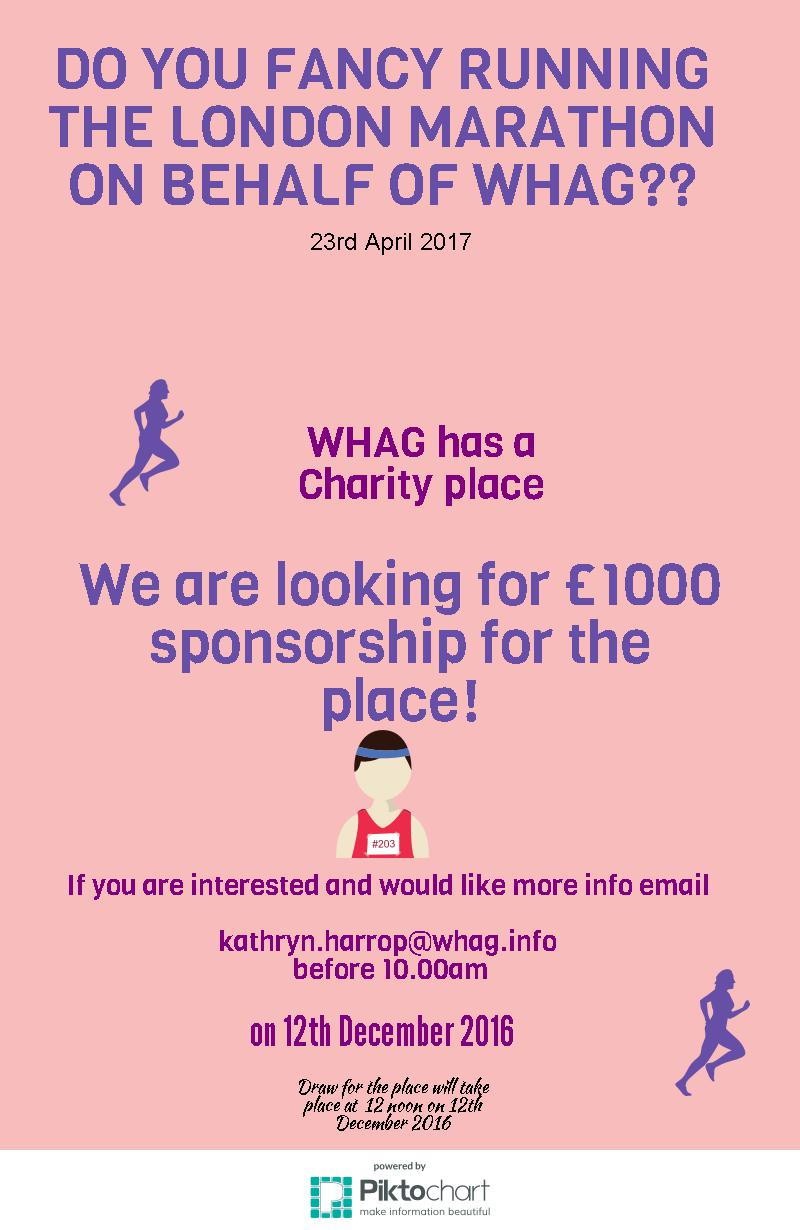 We are bringing the date forward for the London Marathon place!!!