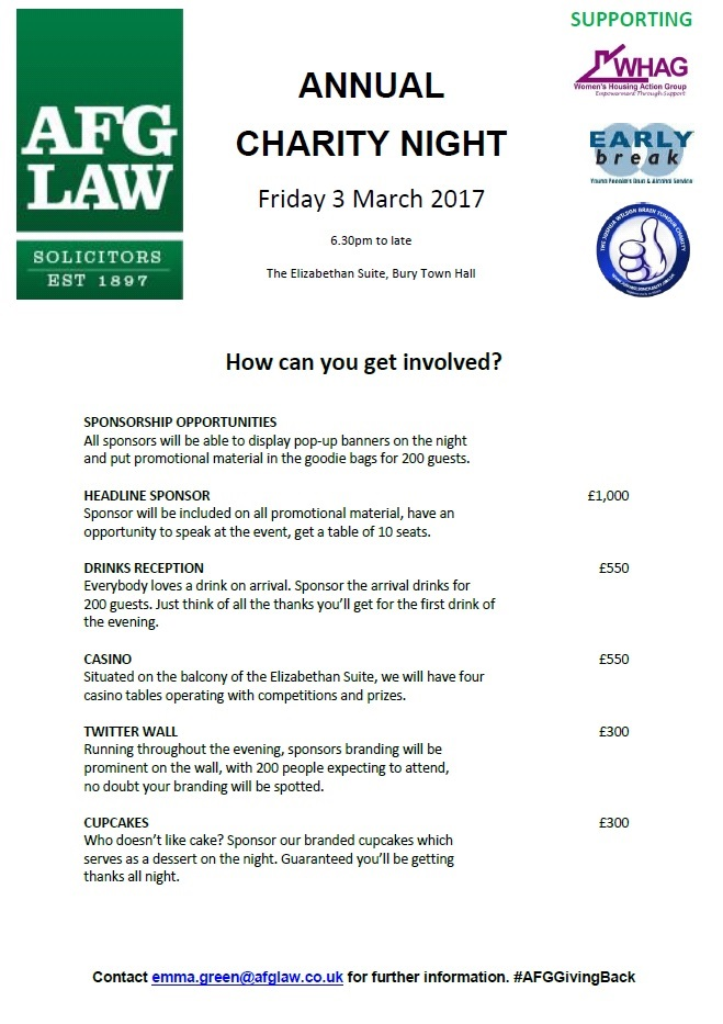 AFG LAW Charity Night, 3 March 2017, Bury – your chance to get involved today!